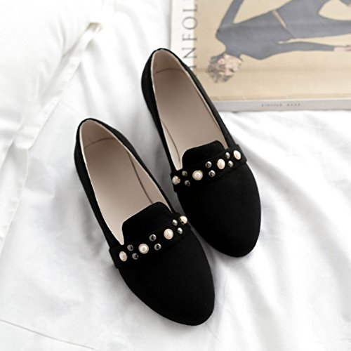 Aisun Damen Süß Runde Zehen Niete Perlen Low Top Flach Slip On Bellerinas Schwarz