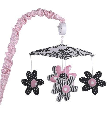 Mobile Musical Pink Zebra - Cotton Tale Designs 100% Cotton Girly with Pink, Black & White Polka Dot, and Striped Flowers Under Black & White Floral Canopy Musical Mobile with Pink & White Zebra Animal Print Arm Cover