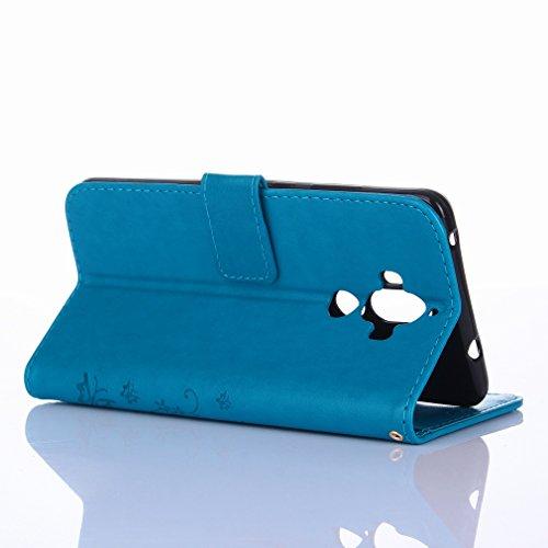 Yiizy Huawei Mate 9 Custodia Cover, Erba Fiore Design Sottile Flip Portafoglio PU Pelle Cuoio Copertura Shell Case Slot Schede Cavalletto Stile Libro Bumper Protettivo Borsa (Blu)