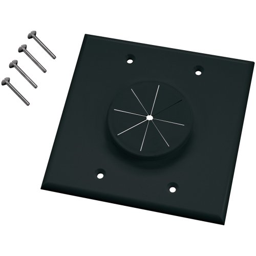 MIDLITE 2GBK-GR2 Double-Gang Wireport(TM) Wall Plate with Grommet (Black) Accessories Electronics Black Double Gang Grommet