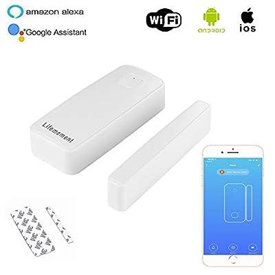 Lifemement Smart Door and Windows Security Sensor,Wireless Battery Operated Sensor No Hub Required APP Alert,Personal Security Door Sensor Alarm, Home Automation Doorbell Sensor Compatible with Alexa