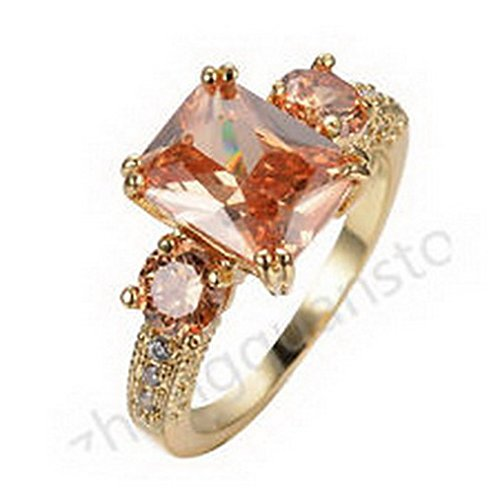 jacob alex ring Jewelry Ring Size6 Champagne Topaz Crystal CZ Women's Yellow Gold Filled Gift
