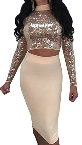Sequins Set Wear Clubwear Skirt Women's amp;W 2 Turtleneck Bandage Multi amp;S Outfit Piece M Up Bodycon Lace Golden Top nBTY7OEWwx
