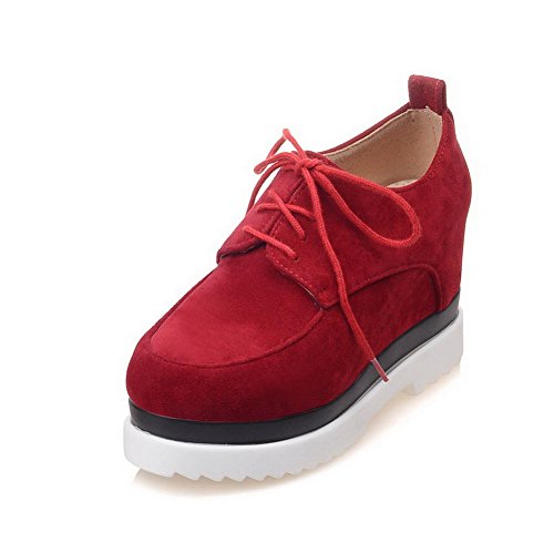 High Red Solid Toe Lace VogueZone009 Suede Pumps up Shoes Closed Heels Imitated Round Women's YwqxBH