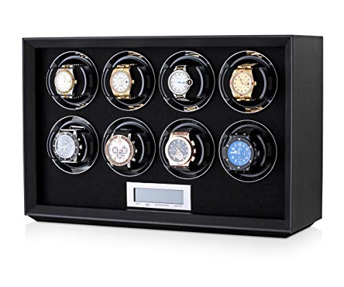 Watch Winder Station for Winding 8 Automatic Watches with LCD Touchscreen Display for All Watch Brands and All Watch Sizes