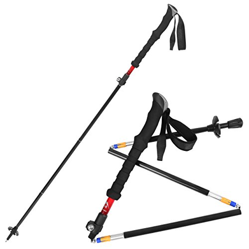 Bagail Ultralight Carbon Cork Trekking Poles - Foldable, Collapsible and Adjustable - Perfect for Hiking, Walking, Backpacking and Snowshoeing (Red(2 PCS))
