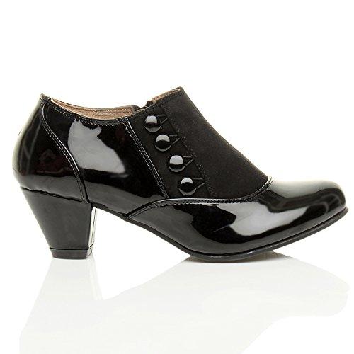 Bottines Mi Chaussure Femmes Fermeture Bouton Talons Pointure Bottes Cheville Éclair Ajvani Vernis Noir wnTqAzEZFw