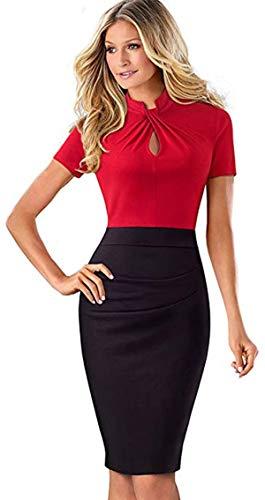 (Merope J Womens Printed Ruffles Neck OL Pencil Wear to Work Office Career Dress (M, Red))