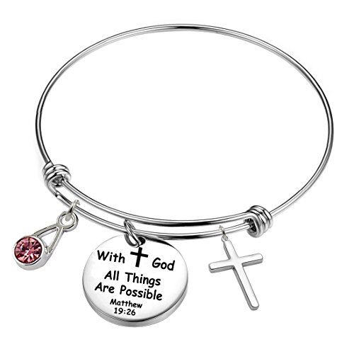 YOYONY Inspirational/motivational/LOVE/Memorial/Thankful/Beauty/Praise/Religious/Friendship Meaningful Message Charm Bracelets (With God All Things Are Possible)