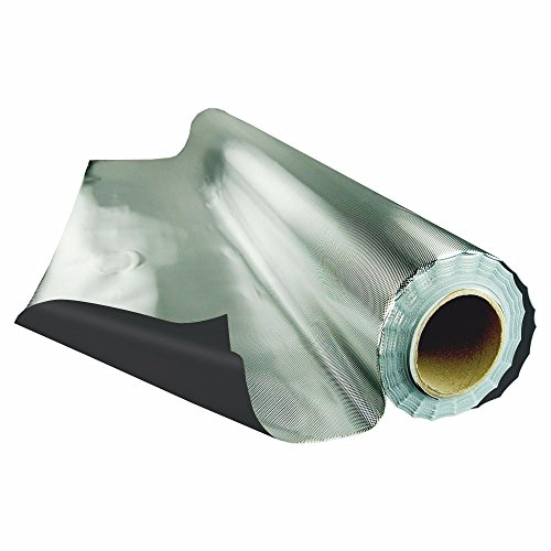 HTGSupply 25 Foot by 4 Foot Roll Heavy-Duty Reflective Diamond Foil on Black Poly Film, 6.7 Mil