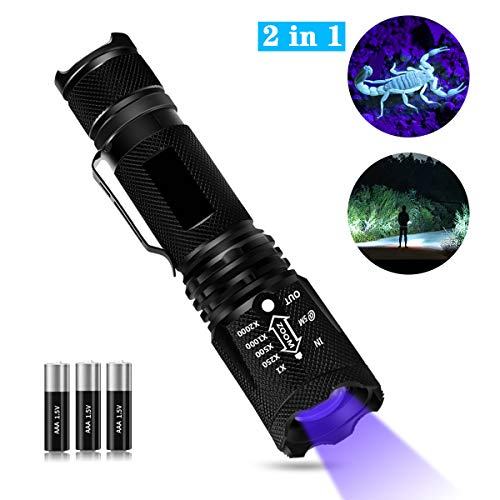 Keenstone 2 in 1 UV Flashlight Black Light & Tactical Flashlight White Light with 3 AAA Batteries, LED Blacklight Flashlight Ultraviolet Urine Detector for Spot Carpet Pet Urine Stain Catch Scorpions