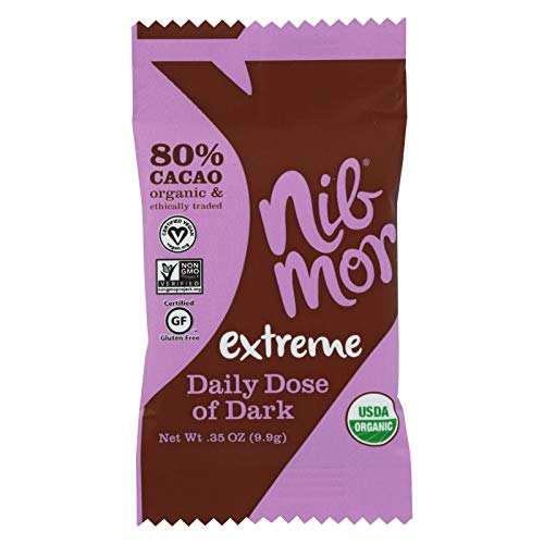 Nib Mor Daily Dose Organic Dark Chocolate with Cacao Nibs - Extreme - .35 oz (60 Count)