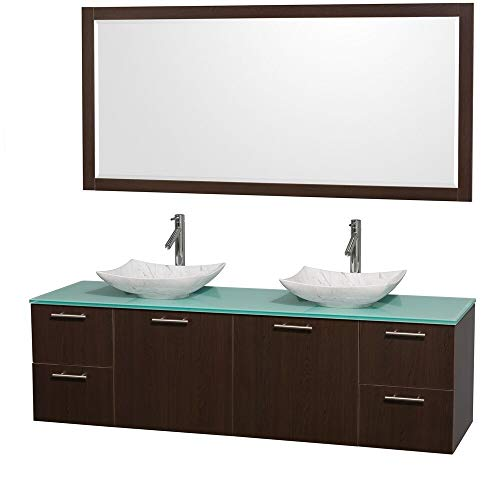 - Wyndham Collection Amare 72-inch Espresso/Green Glass Double Vanity with 70-inch Mirror Espresso,Grn Glass Top,Wht Carrera Sinks,70