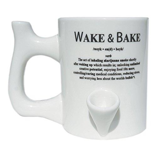 Wake and Bake Definition Coffee Mug Cup with Smoking Pipe