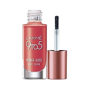 Lakmé 9 to 5 Primer + Gloss Nail Colour, Orange Coat, 6 ml