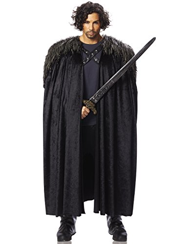 Costume Culture Men's Big Medieval Cape Adult Deluxe, Black, Standard -