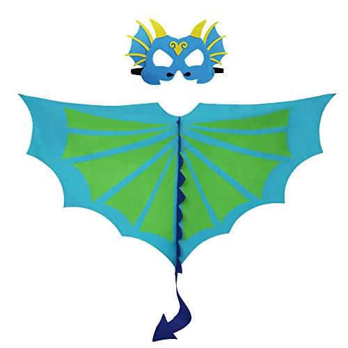 Toddler Kids Dinosaur Wings and Felt Mask Costume for Boys Girls Dinosaur Dress Up Party Favor Gifts (# -