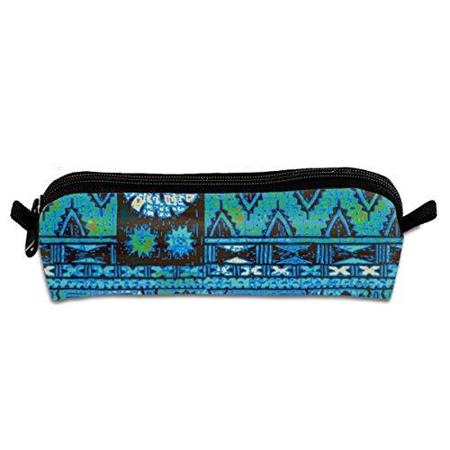 Pencil Case Fijian Tapa 1c_227 Unisex Student Zipper Polyester Pen Box Stationery Bag Lightweight Storage Bags ()