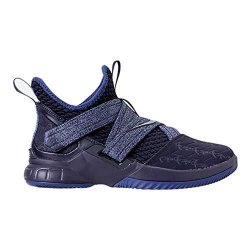Nike Kids' Grade School Lebron Soldier XII Basketball Shoes (7, Black/Blue)