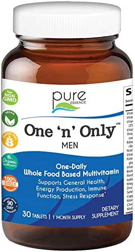 Pure Essence Labs One N Only Multivitamin for Men - Natural One a Day Herbal Supplement with Vitamin D, D3, B12, Biotin - 30 Tablets