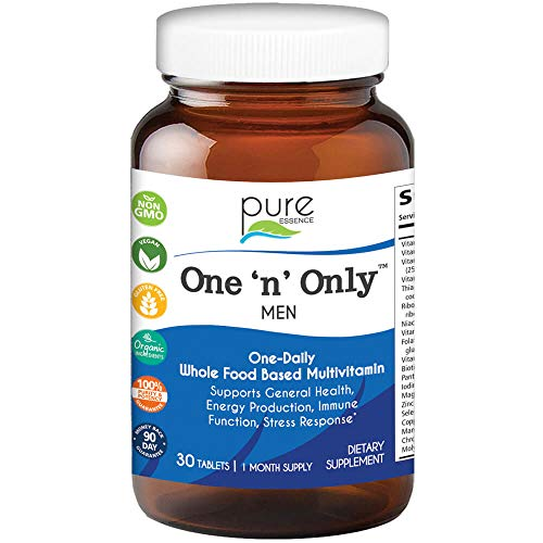 Pure Essence Labs One N Only Multivitamin for Men – Natural One a Day Herbal Supplement with Vitamin D, D3, B12, Biotin – 30 Tablets