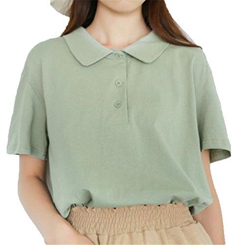 [ジャンーウェ] Tシャツ レディース ゴルフウェア ポロシャツ 半袖 無地 ゆったり Vネック