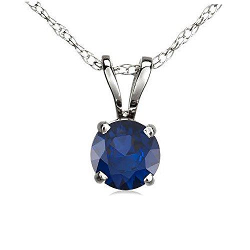 0.50 Carat (ctw) 14K White Gold Round Blue Sapphire Ladies Solitaire Pendant 1/2 CT (Free Silver Chain)