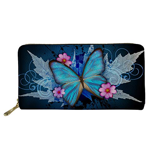 Butterfly Floral Wallet - chaqlin Floral Leather Wallets for Women Blue Butterfly Purse Travel Business Handbag Girls Party Clutch Bag Phone Holder Money Clips with Coin Pocket 4 Card Slots