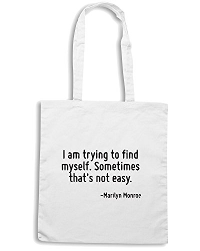 T-Shirtshock - Bolsa para la compra CIT0104 I am trying to find myself. Sometimes that s not easy. Blanco