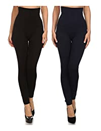 Women's Empire Waist Tummy Compression Control Top Leggings, French Terry Lining