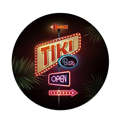 Neon Sign Imperial (Polyester Round Tablecloth,Tiki Bar Decor,Old Fashioned Neon Signs Illustration Open Bar Palm Tree Branches Roadside Decorative,Multicolor,Dining Room Kitchen Picnic Table Cloth Cover,for Outdoor Ind)