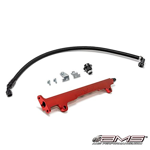 AMS Red Aluminum Fuel Rail Kit for 2008-2015 Mitsubishi Evolution EVO X 10