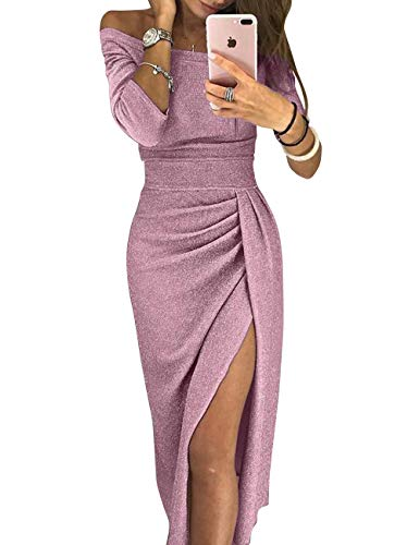 PYL Women's Off Shoulder Sequin Ruched High Slit Knit Evening Party Cocktail Long Maxi Dress ()