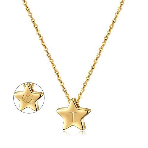 Turandoss Star Initial T Necklace for Women - 14K Gold Filled Star Pendant Initial Necklace, Tiny Initial Necklace for Girls Kids Children, Star Charm Necklace Jewelry Best Baby Girl Gifts