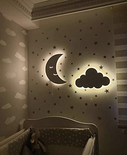 Decorative Led Wall Lights for Kids Room, Nursery Decor, Kids Room Decor,Magic Dreams Wall Lights by BugyBagy (Set of 1 Cloud +1 Smiling Moon, White)