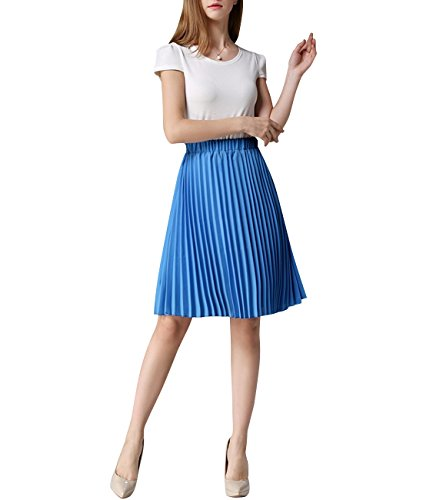 Women's Midi Skirts Chiffon Pleated Knee-length Summer Wear One Size Royal Blue