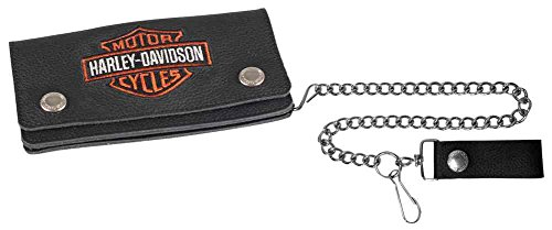 Harley-Davidson Men's Embroidered B&S Trucker Tall Biker Wallet, XML4317-ORGBLK