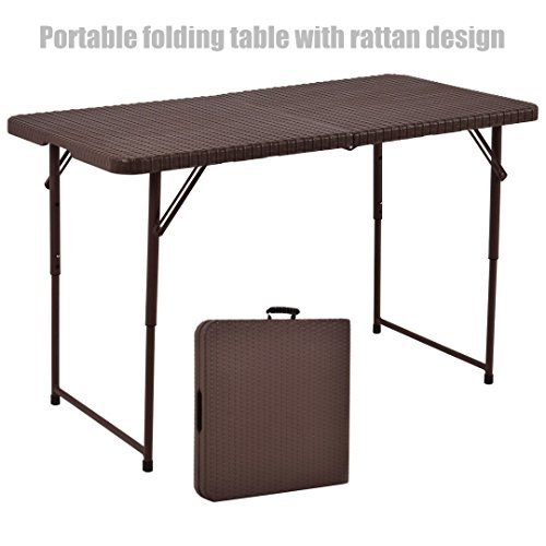 New 4ft Indoor Outdoor Folding Table Rattan Pattern Design Portable Party Picnic Cooking Dining Camping Laptop Desk Premium HDPE Top #1196