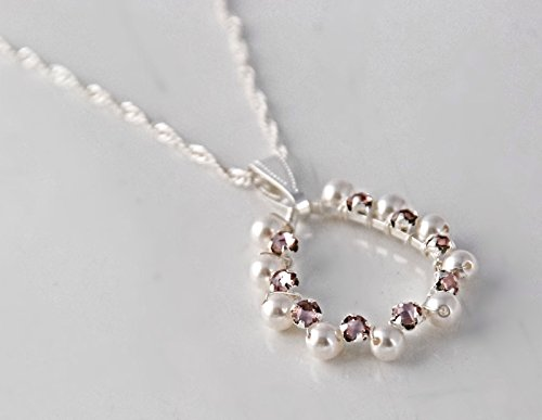 16-17 Inch Long Silver Tone Swarovski Element Rose Pink Crystal and White Simulated Pearl Teardrop Pendant Necklace with Twisted Rope - Elements Swarovski Crystal Basket
