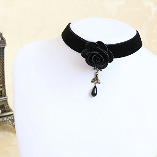 Pure Gothic Ribbon Bridal Lace Pattern Necklace Vintage Romantic Handmade Bridal Wedding White Lace Choker Necklace Short Flower Pearl Relighous Necklace (Velvet Necklace with A Black Rose) ()