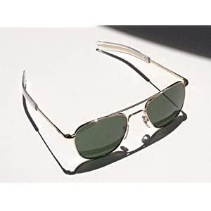 AO Eyewear Original Pilot 55mm Gold Frame with Bayonet Temples and True Color Green Glass Lens