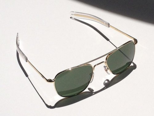 AO Eyewear American Optical - Original Pilot Aviator Sunglasses with Bayonet Temple and Gold Frame, Calobar Green Glass Lens