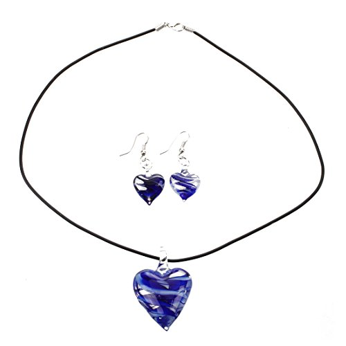 Murano Glass Heart Necklace (Necklace + Earring - TOOGOO(R)Set Murano Glass Heart Necklace + Earring)