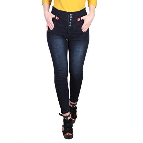 Broadstar Women's Slim Fit Jeans (5BUTTON, Blue, 28)