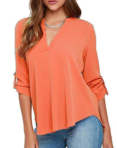 Elady Sexy Loose Fitting Chiffon Blouse Top For Women V Neck Shirt Orange (S)