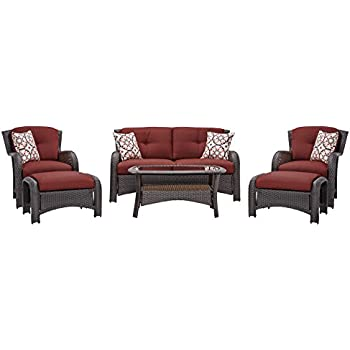 Amazon.com: Hanover Strathmere 6-Piece Outdoor Deep-Seating Lounge ...