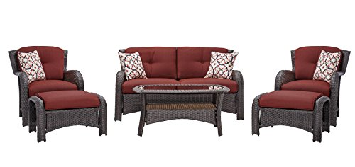 Hanover Strathmere 6-Piece Outdoor Deep-Seating Lounge Set, Rich Brown/Crimson Red