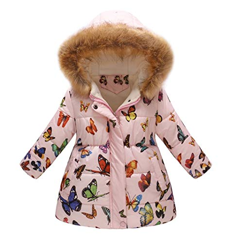 Kehen Big Girl Autumn Winter Parka Down Coat Butterfly Print Puffer Trench Jacket Padded Overcoat with Fur Hood Pink 5T