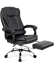 Artiss Executive Office Chair with Retractable Footrest Padded PU Leather High Back Adjustable Height-Black
