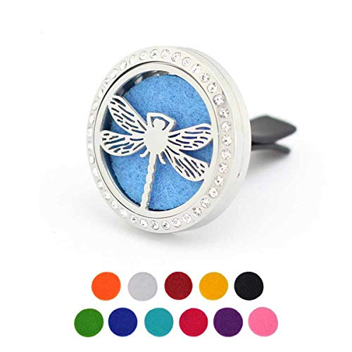 Car Aromatherapy Essential Oil Diffuser Air Freshener Vent Clip, Dragonfly Stainless Steel 30mm Rhinestones Locket, 11 Refill Pads ()